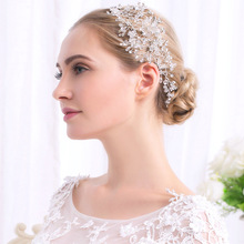 1pc Bridal Wedding Headband Glass Crystal Rhinestone Hair Jewelry Accessories Festival Parting Gifts Headpiece Comb Silver Color