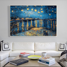 07G Impressionist Painter Van Gogh Rhone Riverside Night A4 A3 A2 Canvas Art Painting Print Poster Picture Home Wall Decorative(China)