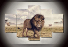 Wall Art Printed Animals Lion Group Painting by Numbers Room Decor Print Poster Picture Canvas Poster Unframed 5 Pieces
