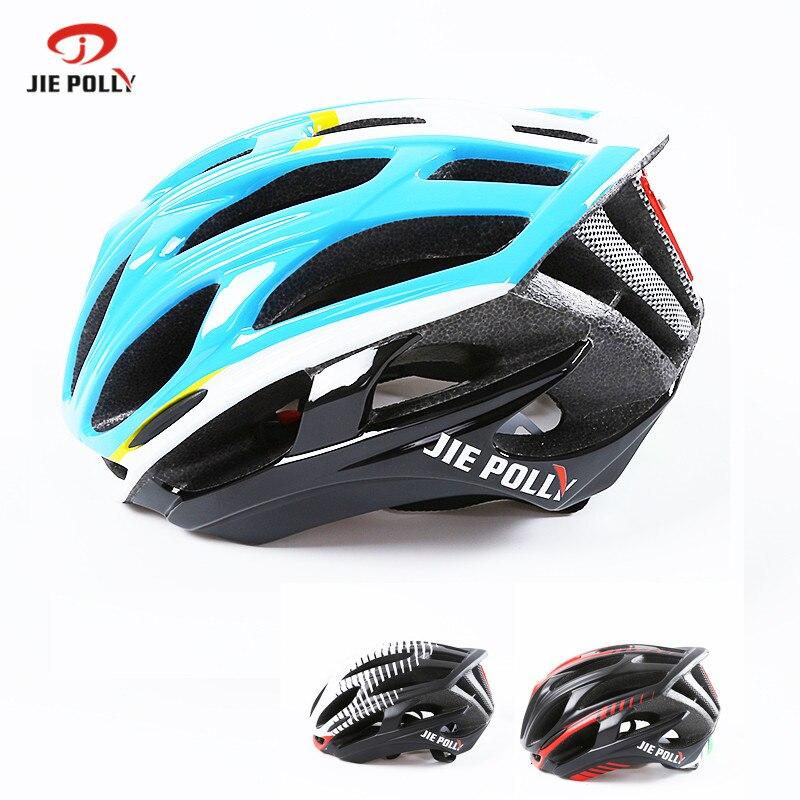 Jiepolly Cycling Helmet Ultralight  Helmet Mountain Road Bicycle Helmet LED Warning Light 36 Air vent 53-64cm Adjustable casco<br>