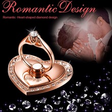 New Luxury Heart shape Diamond Finger Ring Mobile Phone Universal Stand Holder For iPhone 7 for iPad2 Samsung S8 all Smart Phone