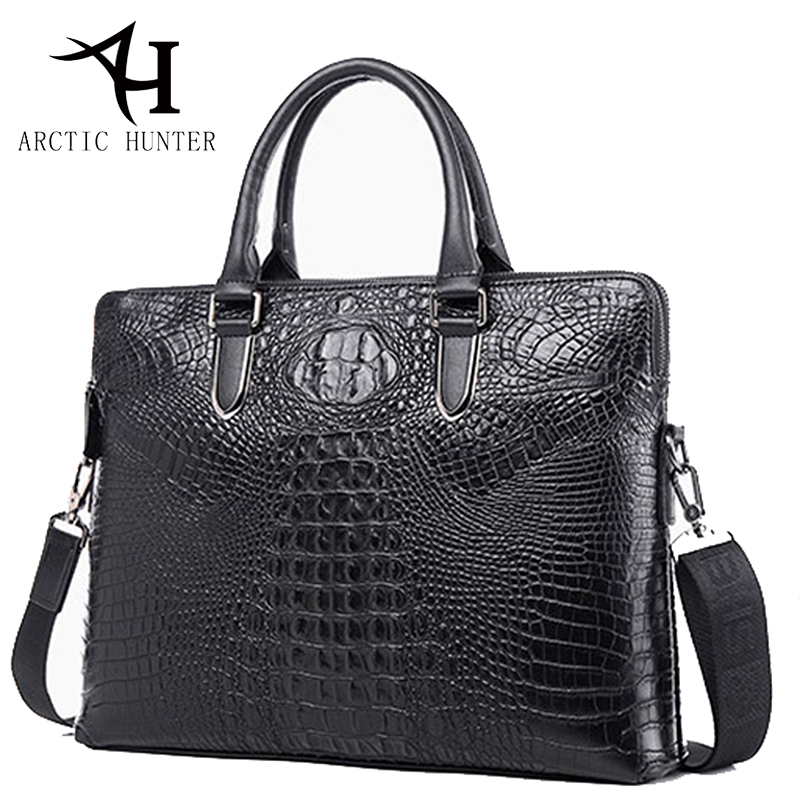 ARCTIC HUNTER Genuine leather bag men handbag Crocodile pattern briefcase shoulder bags vintage men messenger bags designer<br>