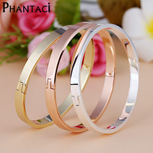 Luxury Stainless Steel Cuff Bracelets&Bangles Top Gold Color Brand CZ  Crystal Buckle Love Charm Bracelet For Women Jewelry Hot