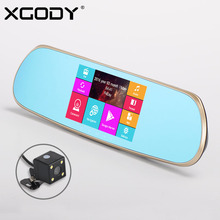 XGODY 5.0 inch Android 4.4 Car DVR GPS Navigation Rear View Mirror 512MB 8GB WiFi FM Dash Camera Video Recorder Dual Camera