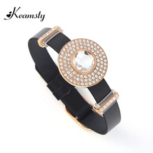 Keamsty Hot Stainless Steel Bangle Black Leather Bracelet Set with Clear Crystal XS Magnetic Coin Disc Women Bracelet Jewelry(China)