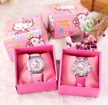 New 12 pcs Hello Kitty  Children Cartoon Quartz  Children Wristwatch Watches With Boxes Party Favors Gift Toy B-45