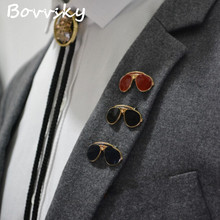 2016 Gold color Exquisite mini Sunglasses men brooches pin Metal Brooch Pin Lapel Pin Men badge collar Vintage Brooches 1 piece