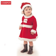 COSPOT Baby Girls Winter Christmas Dress + Hat Girl Red Christmas Autumn Dresses Girl Long Sleeve Red Dress 2017 New Arrival 25D