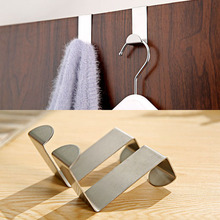 2Pcs Over Door Hook Stainless Kitchen Cabinet Clothes Hanger Organizer Holder Easy Kitchen Home Tools