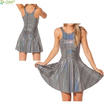 Psychedelic Black And White Stripes 3d Print Women Tennis Dress Saias One-Piece Skater Dress Sexy Bodycon Sleeveless Sundress