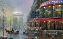 streetview cityscape Elysees Paris situations painting 4-Size Home Decoration Canvas Poster Print(China)