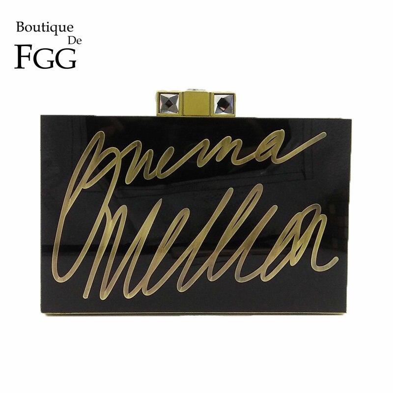 Boutique De FGG Vintage Bronze Wordart Letters Women Black Acrylic Evening Purse Clutch Bag Fashion Box Day Clutches Handbag<br>