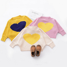 Baby sweater cute blue& yellow love heart-shaped long sleeve knitted 6-24months girls sweaters baby newborn trui boy warm tops(China)