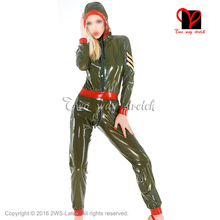 Buy Sexy military latex catsuit front zipper belt Rubber Catsuit long sleeves Jumpsuit Unitard overall BodySuit zentai LT-084