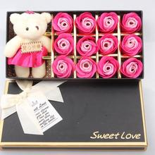 Artificial Flower Petals Rose Soap Bathing Soap Bear Rose With Gift Box For Valentine's Day Mother's Day Wedding Gift For kid