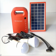 Portable 3W Mini Solar Home System Solar Energy Kit Solar Generator with 2 Bulbs Lead Acid Battery outdoor solar camping light(China)
