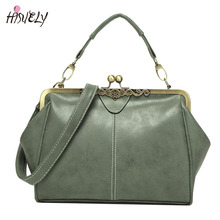 2017 New Vintage Bags Retro PU leather Tote Bag Women Messenger Bags Small Green Clutch Ladies Shoulder Bag Fashion Handbags Hot(China)