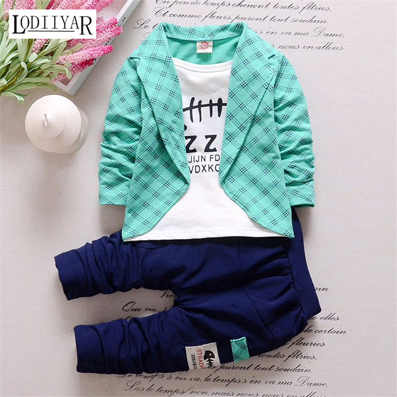 2017 New Baby Boys Korean Casual Long-sleeved Clothing Set Baby &amp; Kids Fashion Plaid Shirt+Pant 2 pcs Childrens Clothing Sets<br><br>Aliexpress