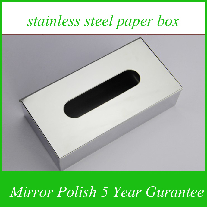 For Kitchen  Bathroom Stainless Steel  Mirror Polish Tissue Container Paper Box  Tissue Holder  Wall Mounted Or Deck Mounted <br>