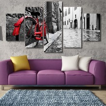 5 Piece Canvas Wall Art bicycle Pictures Prints oil Paintings On Canvas For Home Decoracion Living Room Canvas Print Painting(China)