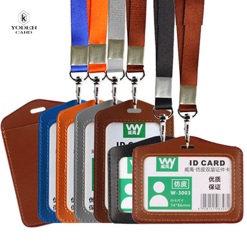 Name Credit Card Holders Women Men PU Bank Card Neck Strap Card Bus ID holders candy colors Identity badge with lanyard<br><br>Aliexpress