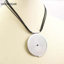 Unisex Stainless Steel Circle Target Necklace Big Silver Pendant Black PU Leather Necklace Women Men Jewelry Free Shipping(China)