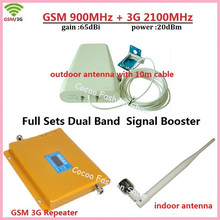 Full Kit GSM 900 3G Cellular Signal Booster GSM 900mhz 3G UMTS 2100mhz Mobile Amplifier WCDMA 2100 Dual Band Repeater Extender(China)