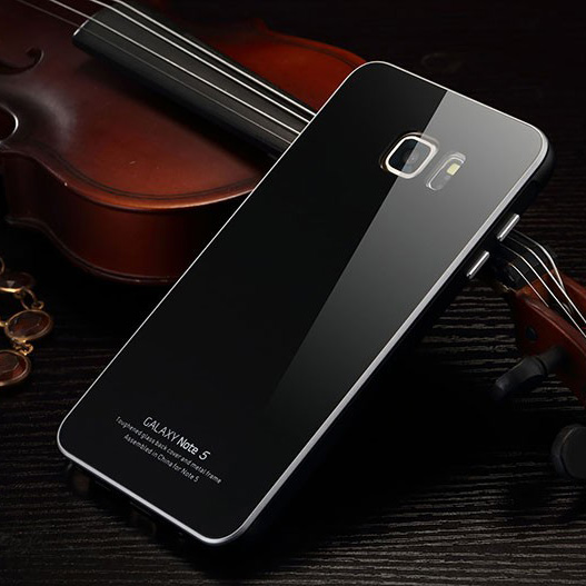 Samsung Note 5 Luxury Metal Aluminum Frame + Tempered Glass Back Cover Case Samsung Galaxy Note 5 Phone Case Accessories