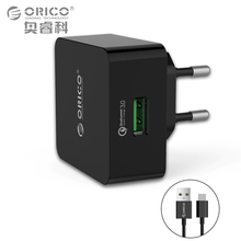 ORICO QC3.0 Phone Charger Quick Charge 18W Fast USB Charger for iPhone Samsung Xiaomi Huawei with Free Micro USB Cable(China)