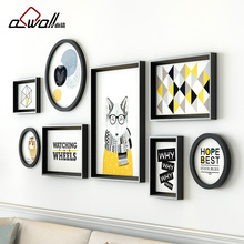 Collage Frames Modern Round Photo Frames For Picture Sofa Background Wall Frame Set European Style Picture Frame Plastic