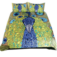 Boho Beddings And Bed Sets Colorful Peacock Feather Animal Prints Bed Linen Winter Bedding Set Queen King Size Kids Bedding Set(China)