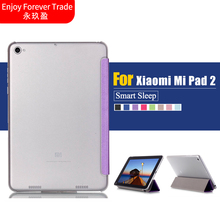 Business Pu Leather Stand Case Cover Shield For Xiaomi Mi Pad 2 MiPad 2 Millet Flat 2 Tablet With Transparent Plastic Shell