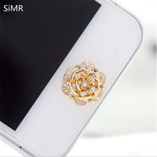 SiMR 1pcs Top Selling Rose Diamond Crystal Phone Sticker Home Button Sticker For iPhone 4/5/5s/6 Decoration