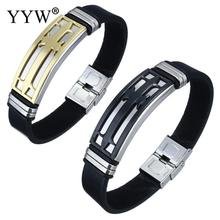YYW Men Punk Wrist Bracelets Bangles Jewelry Cowhide Leather Cord Bracelet Gold-color Cross ID Stainless Steel Bangles for man