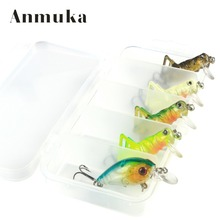 Anmuka 5 Pcs/Lot 3g 4cm Fishing Lure Artificial Locust Grasshopper Lures+Grank Insect Shape Hard Bait Set + Fishing Tackle Box