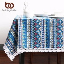 BeddingOutlet Blue Tablecloth Ethnic Style Linen Fabric Dining Table Cover Boho Printed Rectangle Table Cloth With Lace(China)