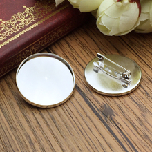 ZEROUP 5pcs 25mm Silver Plated Brooch Base Brooch Settings Glass Cabochon Tray Supplies for Jewelry