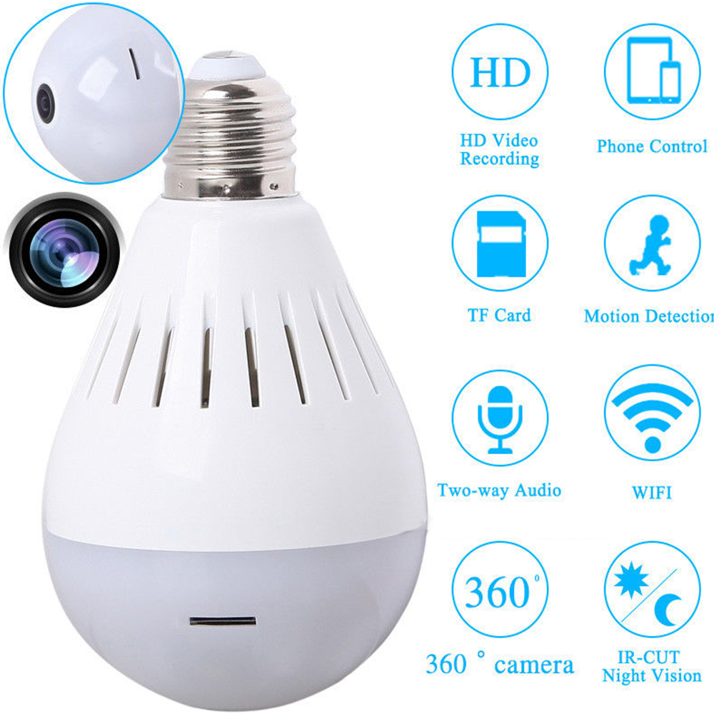 Full HD 1080P Wifi Camera Camcorder Light Bulb 360 Degree Panoramic Security Surveillance Wireless Ceiling Lamp Video Cameras<br>