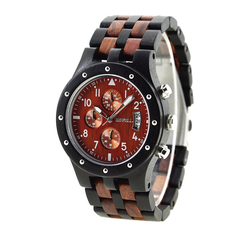 BEWELL Top Brand Luxury Wooden Quartz Watches for Mens Military Analog Wrist Watch with Chronograph Calendar Date Reloje<br>