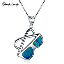 RongXing Women Fashion White/Blue Fire Opal Sunglasses Pendants Necklaces 925 Sterling Silver/Black Gold Filled Jewelry NL0140(China)