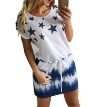 New Women Dress 2017 Summer Round Neck Womens Casual Clothing Star Print Gradient Shift Dresses