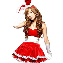 New Woman's Christmas Holiday Party Dress Rabbit Ears Tunic Christmas Uniform Temptation Club Game Santa Claus Sexy Costumes