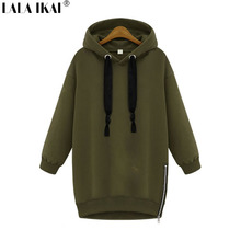 Women Letter Printed Thick String Cap Hoodies Long Sleeve O Neck Solid 3 Colors Black Gray Green Street Outerwear SWI0361-45
