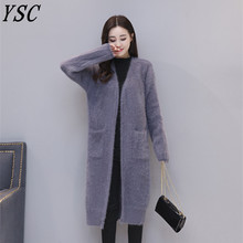 Handmade 2017 New design women high quality 100% Mink cashmere Coat V-Collar Thickening coat Straight cylinder type(China)