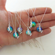 Buy New Alloy Mermaid Scale Pendant Necklace Women Accessories Long Chain Statement Necklaces & Pendants Shimmery Mermaid Jewelry for $1.72 in AliExpress store