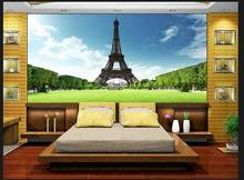 Free shopping 2015 New Non-woven The Eiffel Tower in Paris, France gustav TV setting wall sofa wallpaper