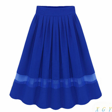 New Arrival Women Skirts Spring Summer New Pleated Chiffon Midi Skirts Stitching Organza High Waist  Fairy Stylish One Size 2883