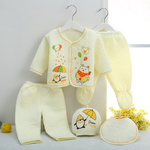 Retail Baby's Sets newborn autumn & winter baby boy girl born suit long sleeve Cartoon cat Thick warm underwear infant clothing(China)