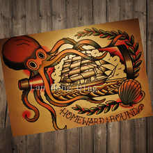 "Vintage about ""drifting bottle"" Nostalgia Hairdresser Tattoos Patterned kraft paper poster/cafe bar home decor HM-36(China)"