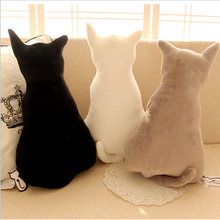 2017 New Cute Silhouette Shadow Cat Short Plush Backrest Cushion For Home Baby Room Decor Creative Pillow Free Shipping